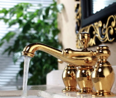 Gold 3 Tap Hole Basin Taps